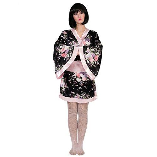 Japanerin Kostüm Kiwi 36/38 Kimono schwarz/rosa Fasching Geisha Asiatin Länder
