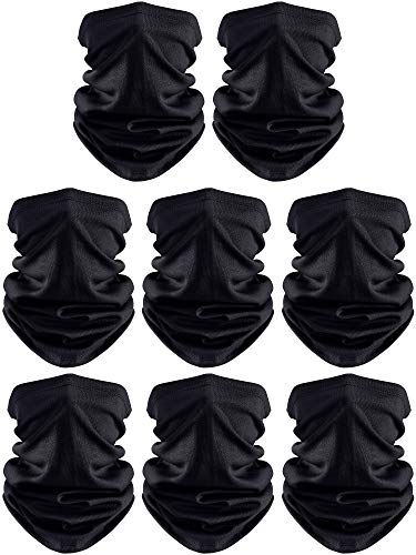SATINIOR 8 Pieces Summer Face Coverings Face Gaiters Neck Gaiter Headwear for Outdoor Cycling Fishing (Black)