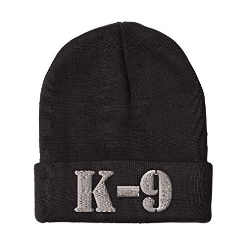Custom Beanie for Men & Women K-9 Silver Logo Embroidery Acrylic Skull Cap Hat Black Design Only