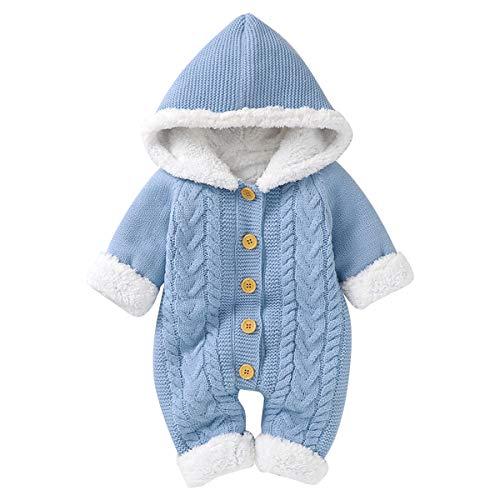 Bebé de Punto con Forro Polar Traje de Nieve Infantil Niño Niña Invierno Cálido Mameluco Mono Ropa de Navidad