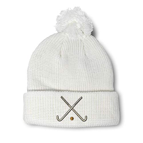 Custom Pom Pom Beanie Field Hockey Sport A Embroidery Acrylic Skull Cap Winter Hat for Men & Women White Design Only