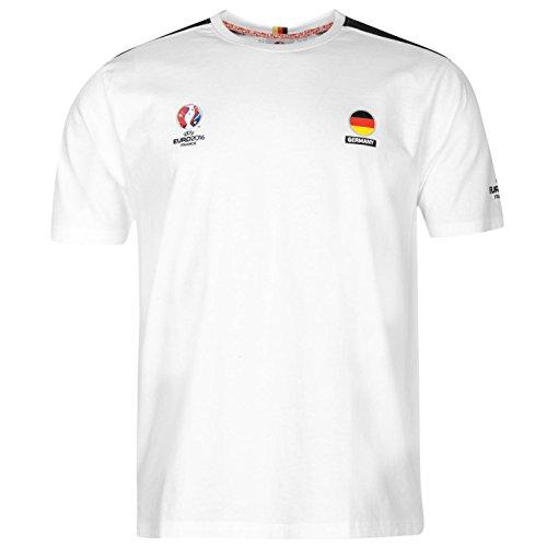 UEFA Euro 2016 T-shirt de football à manches courtes et col rond pour homme - Blanc - X-Large