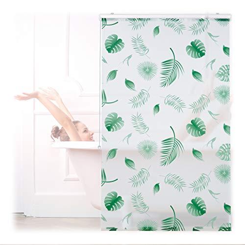 Relaxdays Duschrollo Blätter, 100x240cm, Seilzugrollo f. Dusche & Badewanne, wasserabweisend, Decke & Fenster, weiß/grün