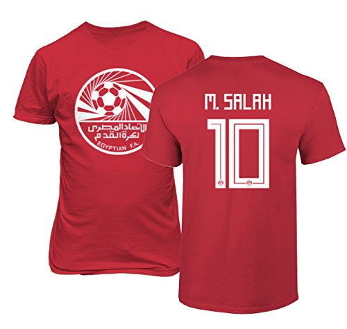 Tcamp Egypt 2018 National Soccer #10 Mohamed Salah World Championship Men's T-Shirt (Red, Adult Large)