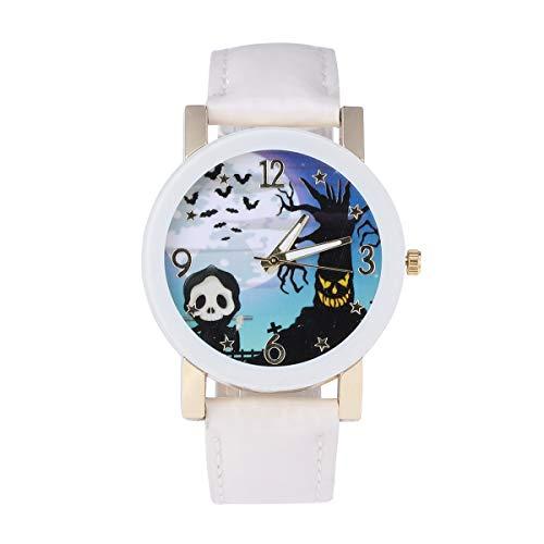 Balacoo Reloj de Cuarzo de Moda para Mujer Festival de Fantasmas Actividades Reloj de Pulsera Crculo Blanco Vidrio Ocio Reloj de Mujer Reloj temtico de Halloween Blanco-Disfraz de Halloween