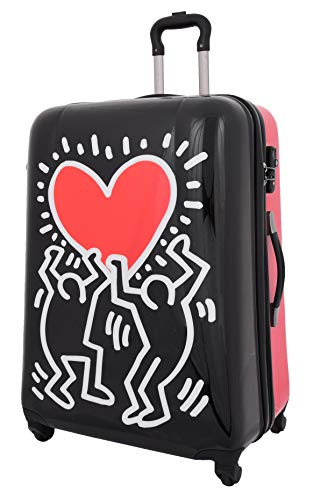 Tough Hard Shell Suitcase Big Heart 4 Wheel Luggage TSA Lock Zip Around Bags (Large (Up to 74cm))