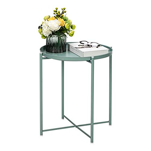 Round Side Table, Round Metal Countertop and Cross Base Wrought Iron Living Room Side Table, Removable Tray Table for Living Room Bedroom Balcony Office (Green)