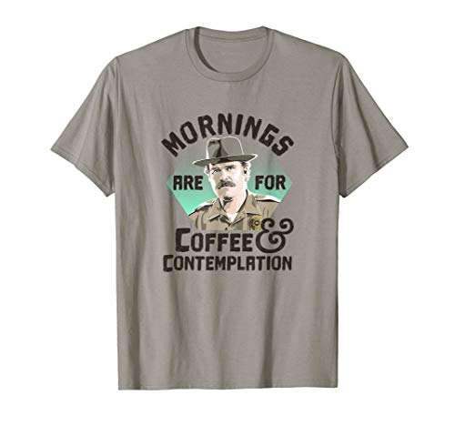 Stranger Things Hopper Mornings Are For Coffee Contemplation Maglietta