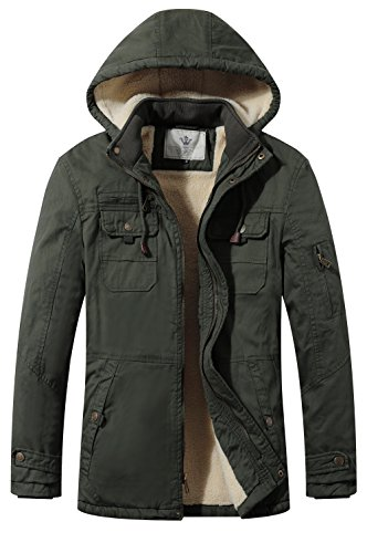 WenVen Men's Cotton Winter Parka Jacket Casual Hooded Warm Coat(Army Green,M)