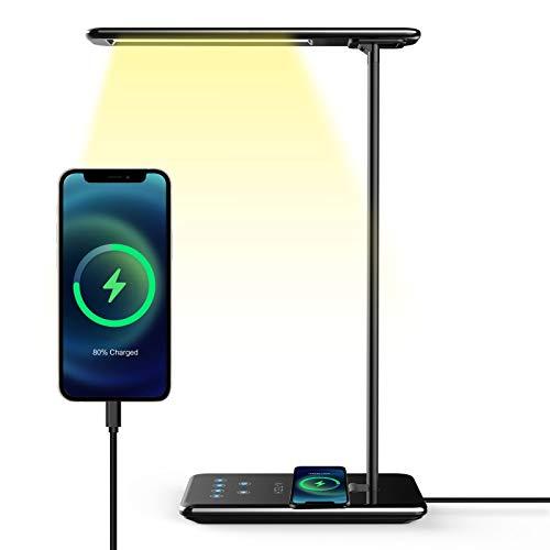 Lampada da Scrivania, Aitech Lampada da Tavolo Occhi Cura Regolabile 5 Livelli per 5 Modalità di Illuminazione Desk Lamp Wireless Charger Timer Spegnimento Automatico Lampada da Lettura