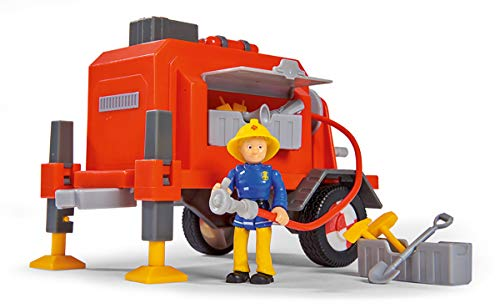 Simba 109251041 Feuerwehrmann Sam Anhänger mit Figur, Mehrfarbig, 18cm