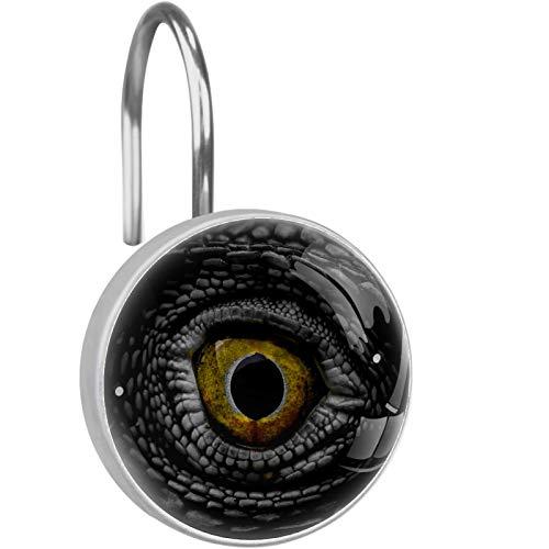 ATOMO Dekorative Duschvorhang-Haken, Punk, cooler Drachen-Dinosaurier-Auge, 12 Stück, Duschvorhang-Haken, Ringe, rostwiderstandsfähig, Metall-Gleiter