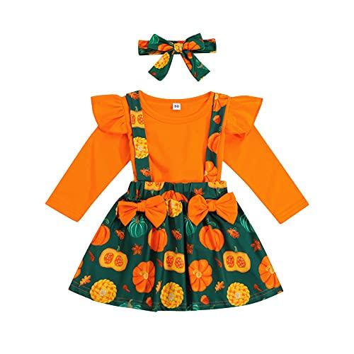 Falda de manga larga y falda de tirantes con diadema, naranja, 4-5 Años