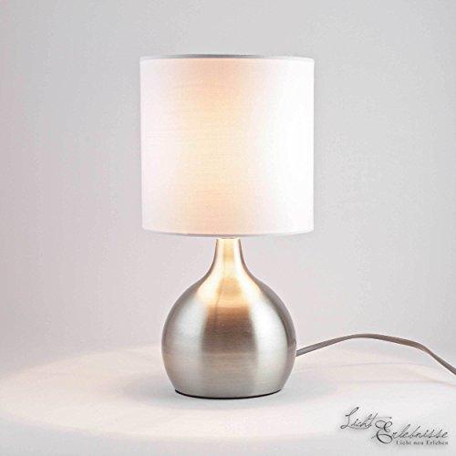 Moderne Tischleuchte in silber, Stoffschirm, Touchdimmer, E14 max. 40W, Höhe 29cm Tischlampe Nachttischlampe Wohnzimmerlampe