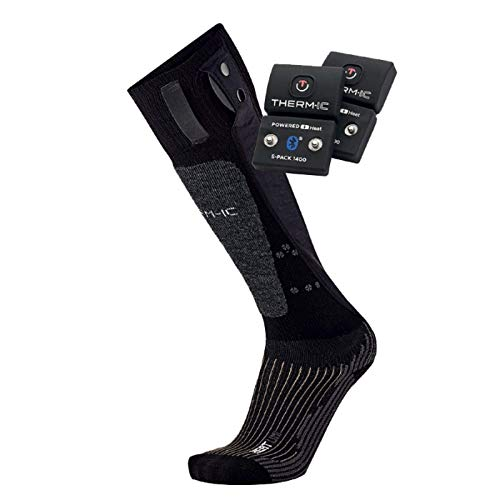 therm-ic PowerSocks Set Heat Uni + S-Pack 1400B Heated Socks + Battery Spack 1400 Bluetooth, Black, 42-44