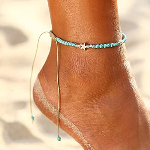 Yean Boho turquesa tobillera estrella de plata pulsera de tobillo playa de la joyería para mujeres y niñas