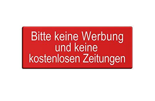 Briefkastenschild – Keine Werbung Keine kostenlosen Zeitungen | Aluminium 66x25 mm Druck rot Schrift weiß | vollflächig selbstklebend | Ofform Design Nr.57053-R