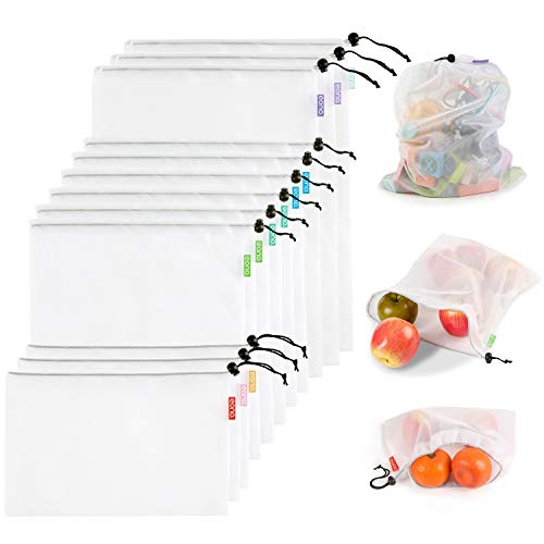 Eono by Amazon - Bolsas Compra Reutilizables Ecológicas Bolsa de Malla para Almacenamiento Fruta Verduras Juguetes Lavable y Transpirable 3 Diversos Tamaños, 12 Pcs (3L+6M+3S)