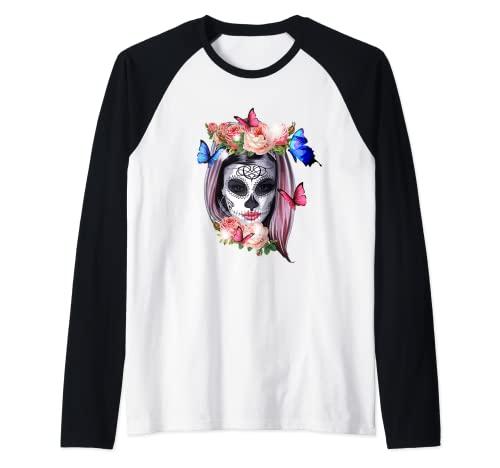 Dia De Los Muertos Sugar Skull Crneo Day Of The Dead Camiseta Manga Raglan