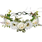 Handmade Adjustable Flower Wreath Headband Halo Floral Crown Garland Headpiece Wedding Festival Party (F-(White))
