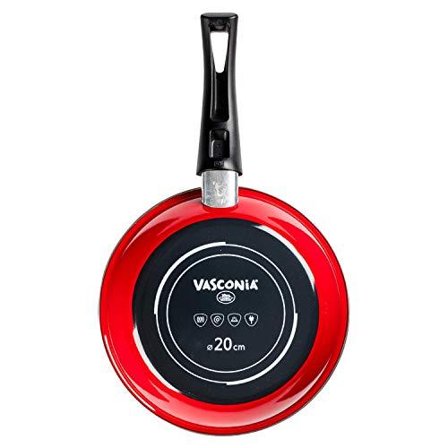 Vasconia Sartén de 20 cm Vasconia Viva colors de Vitroacero Color Rojo con Duraflon Rustic Granite, 20 cm, Rojo