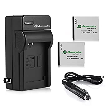 Powerextra 2 Pack Battery and Charger Compatible With Canon NB-4L CB-2LV and Canon ELPH 330 HS ELPH 300 HS VIXIA mini ELPH 100 HS ELPH 310 HS Powershot SD1400 IS SD750 SD1000 SD600 SD1100 IS