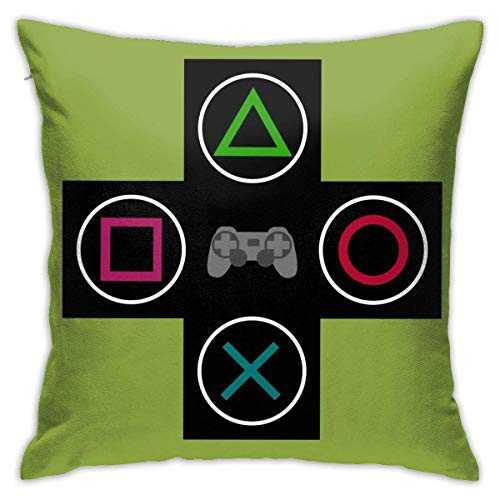 Green Console Gamer Video Games Black Throw Pillow Covers Decorative 18x18 Inch Pillowcase Square Cushion Cases for Home Sofa Bedroom Livingroom