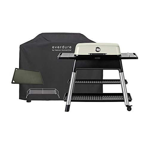 Everdure FURNACE by Heston Blumenthal 3-Burner Liquid Portable Propane Gas Grill, Cover and Accessory Bundle: Die-Cast Aluminum Body, Stone Grills Propane