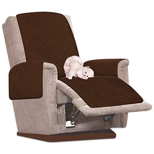 Your's Bath Sesselschoner für Relaxsessel Sesselauflage mit Armlehnen Schonbezug Sofa Sofaüberwurf 1 Sitzer Wasserdicht und rutschfest mit Breiten Verstellbaren Trägern (Braun)