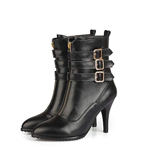 DENGSHENG SHOPS Damen High Heel Stiefel mit seitlichem Reißverschluss Einfarbig Martin Stiefel Stiefel mit spitzem Kopf Damenstiefel aus Leder Damenschuhe mit hohem Absatz