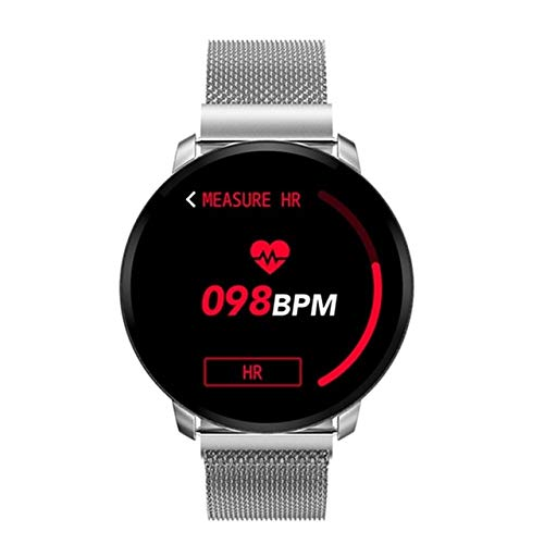 CWGWNXGY Mannen Waterdichte Bloeddruk Sport Dames Smart Horloge Hartslagmeter Smart Armband Fitness Tracker Horloge, A, Silver Steel
