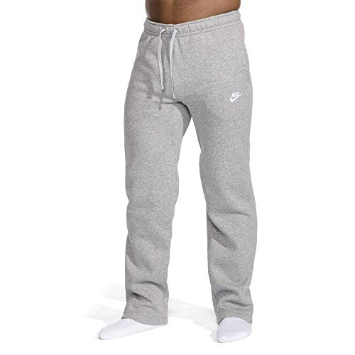 Nike Men's Sportswear Open Hem Club Pants, Dark Grey Heather/White, Medium