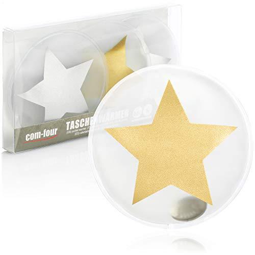 com-four® 4X Pocket Warmer Reutilizable - Calentador de Manos con Motivo de Estrella para niños - Almohadilla térmica para los días fríos y para Llevar - Almohada térmica (Estrellas XL)