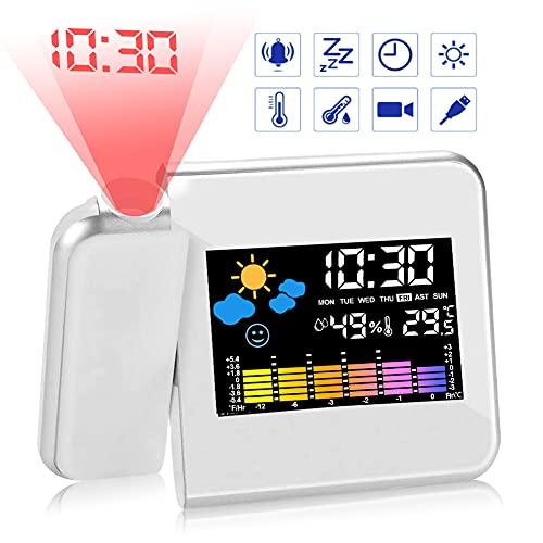 Gohytal Sveglia Digitale da Comodino, Sveglia con Proiettore, Soffitto Sveglia Con Proiezione LED con Stazione Tempo/Display LCD/Ricaricabile USB/Temperatura e Data/Funzione Snooze (Bianca)