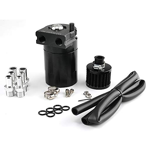 Top10 Racing Oil Catch Can Air Breather Tank Filter Baffled Universal (Black)