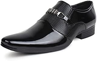 trygo traders Men's Black Slip on Style Formal Shoes