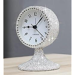 CARCHILE Luxury Rhinestone Alarm Clock Morning Call Super Silent Non Ticking Handmade Fashion Design for Bedroom Houseroom Living Room Desk Cute As Gift (Silver)