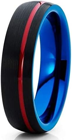 Silly 40% OFF Latest item Cheap Sale Kings Red Tungsten Wedding Ring Blue Tungst Black