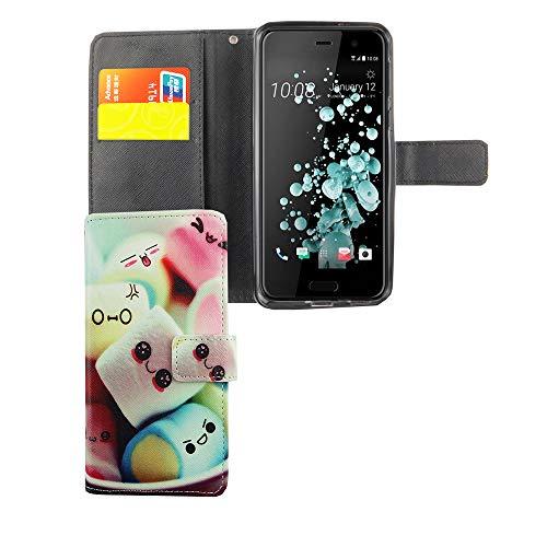König Design Handyhülle Kompatibel mit HTC U Play Handytasche Schutzhülle Tasche Flip Hülle mit Kreditkartenfächern - Marshmallows