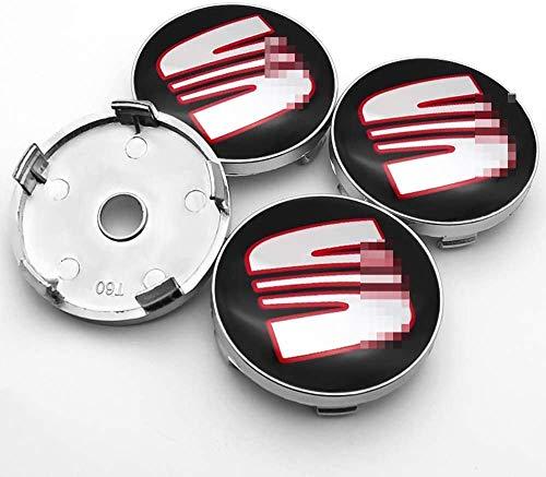 4 tapas de cubo de centro de coche para SEAT Minimo Ibiza Leon Alhambra Exeo Toledo Altea MII TBL IBX, 60mm centro de rueda logo insignia pegatina forma de neumático