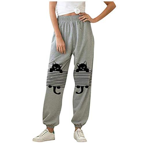 YAAY Pantalones deportivos deportivos para mujer con diseño de gato lindo gráfico elástico pantalones casuales sueltos para correr en casa