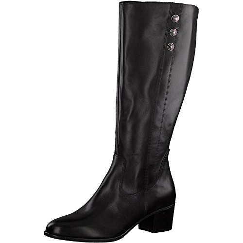 Tamaris Damen Stiefel 25557-21,Frauen Boots,Lederstiefel,Reißverschluss,Blockabsatz 4.5cm,Black,EU 40
