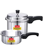 FAMILIA FAL Induction Base Aluminium Family Pressure Cooker Combo with Outer Lid   Silver