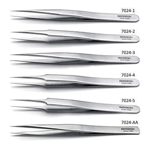 BERGEON Kornzangen-Sortiment 7024-P06– 6-teilig – SWISS MADE – Antimagnetischer Stahl