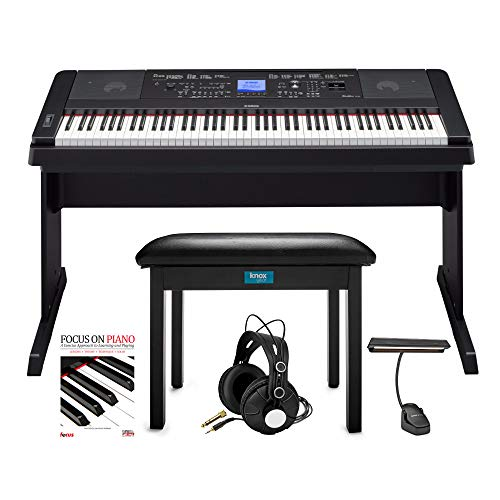 Yamaha DGX-660 88-Key Grand Piano Bundle with Knox Flip-Top Bench, LED Music Light, Knox Studio Headphones and Focus Piano Book/CD Bundle (5 Items)