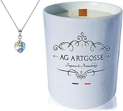AG Artgosse Grande Bougie Bijoux • Parfumée Fleur de Cerisier + Pendentif  Cristal Swarovski éléments Femme • Coffret Cadeau Artisanal + Suédine + ...