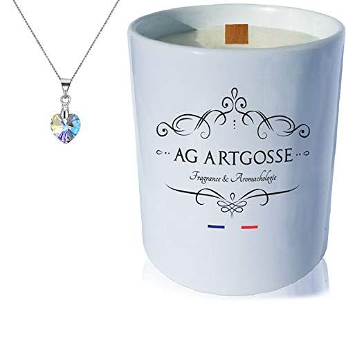 AG Artgosse Vela con mecha de madera perfumada de flor de algodón + colgante de corazón...