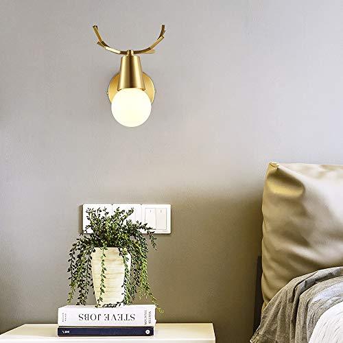 LFK Lámpara de pared creativa de cobre para sala de estar, habitación de los niños, dormitorio, mesita de noche, luz simple, lámparas modernas de lujo