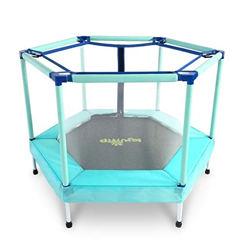 Trampoline Kindertrampolin Indoor Netto-Sprungbett Kinder-Unterhaltungs-Sprungbett Mit 120 Kg (Color : Blue, Size : 122 * 87cm)