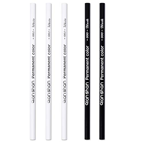 5Pcs Black White Color Pencils - Permanent Color Drawing Pencil Oil-based Wooden Colored Pencils for Artist and Beginner Art Projects, 2 Colors of 3 White, 2 Black